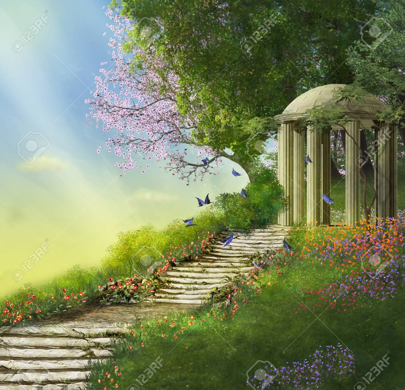 gazebo at the top of a hill with a stone stair and flowers - 56089299