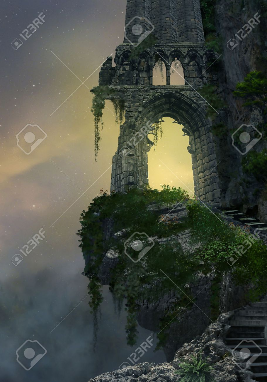 Fantasy gateway ruin in a mountain and landscape with fog - 63596950
