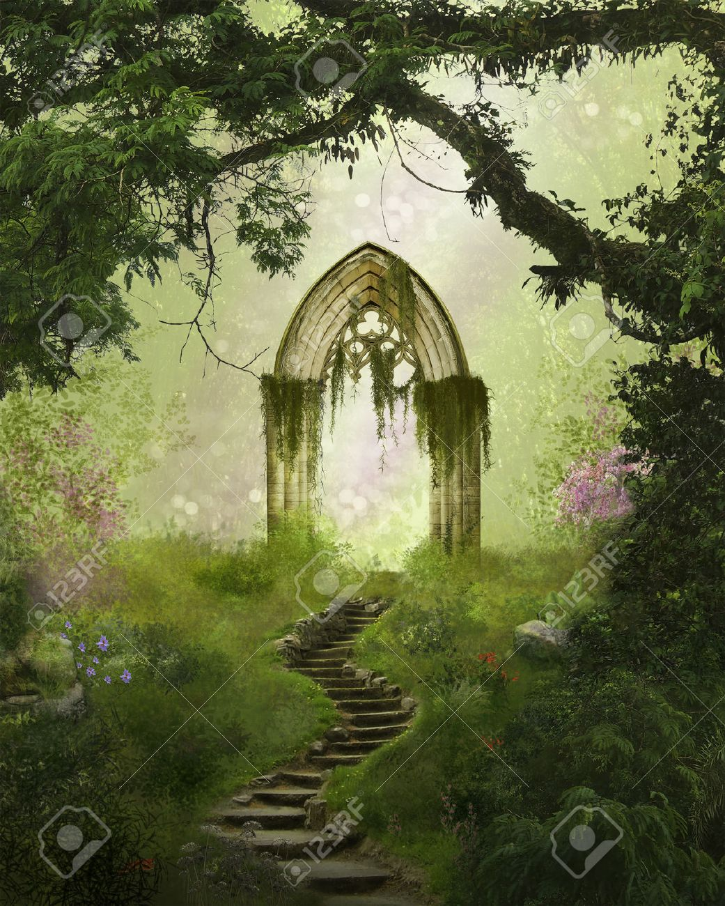 Fantasy antique gate in a beautiful forest - 63596951