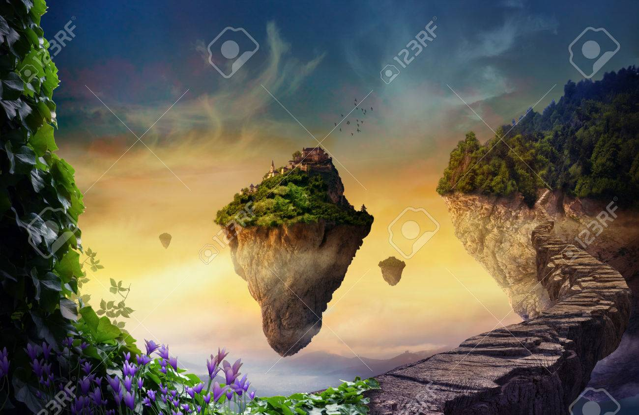 Floating islands with vegetation and magic castles - 82682169