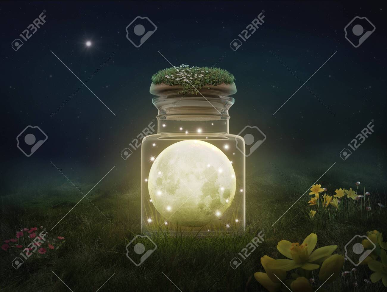 Fantasy moon inside a bottle at night. Photomanipulation. 3D - 131787861