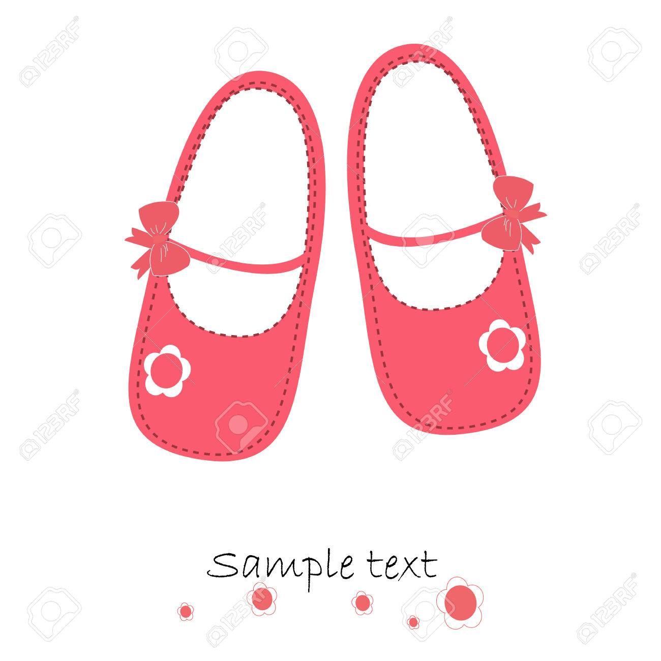 Pink Baby Shoes Newborn Greeting Card Vector Royalty Free Cliparts Vectors And Stock Illustration Image 33145539