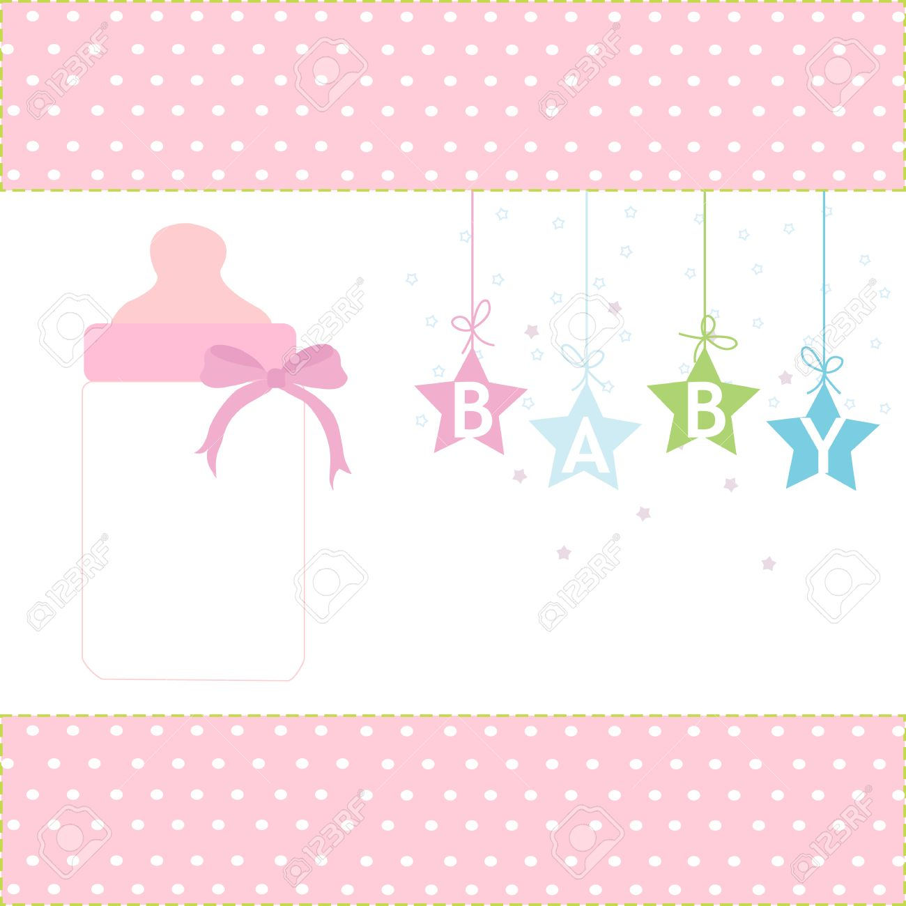 Baby girl greeting card hanging stars and bottle background royalty baby girl greeting card hanging stars and bottle background stock vector 34501209 kristyandbryce Images