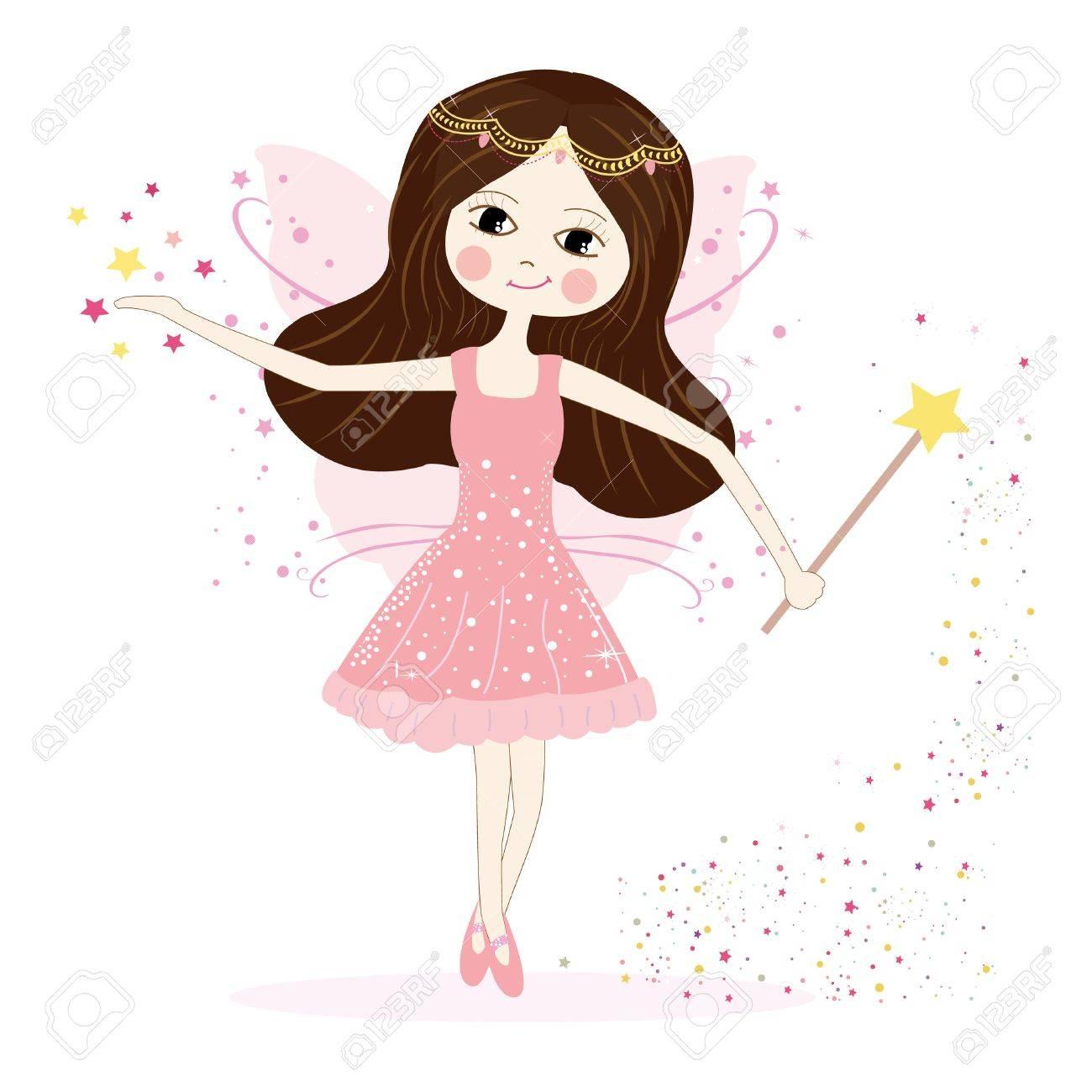 Cute fairy girl vector with stars - 34612473