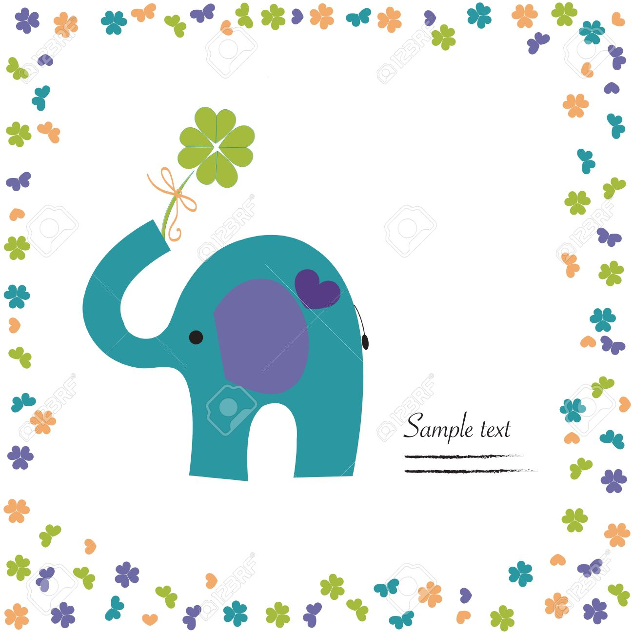 Elephant with clover vector good luck greeting card royalty free elephant with clover vector good luck greeting card stock vector 34952025 m4hsunfo
