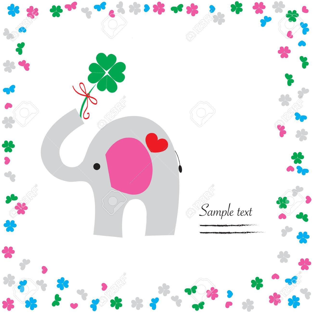 Good luck with elephant and clover vector greeting card royalty free good luck with elephant and clover vector greeting card stock vector 34952030 m4hsunfo Choice Image