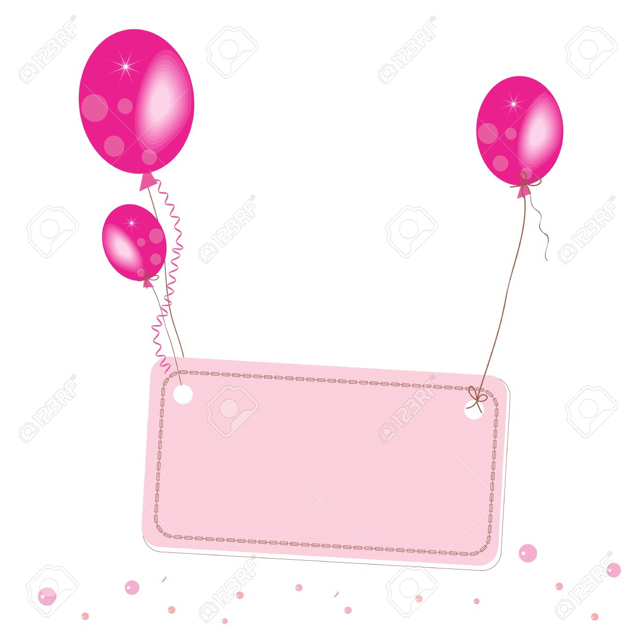 Pink Flying Balloon Place For Text Wallpaper Stock Vector