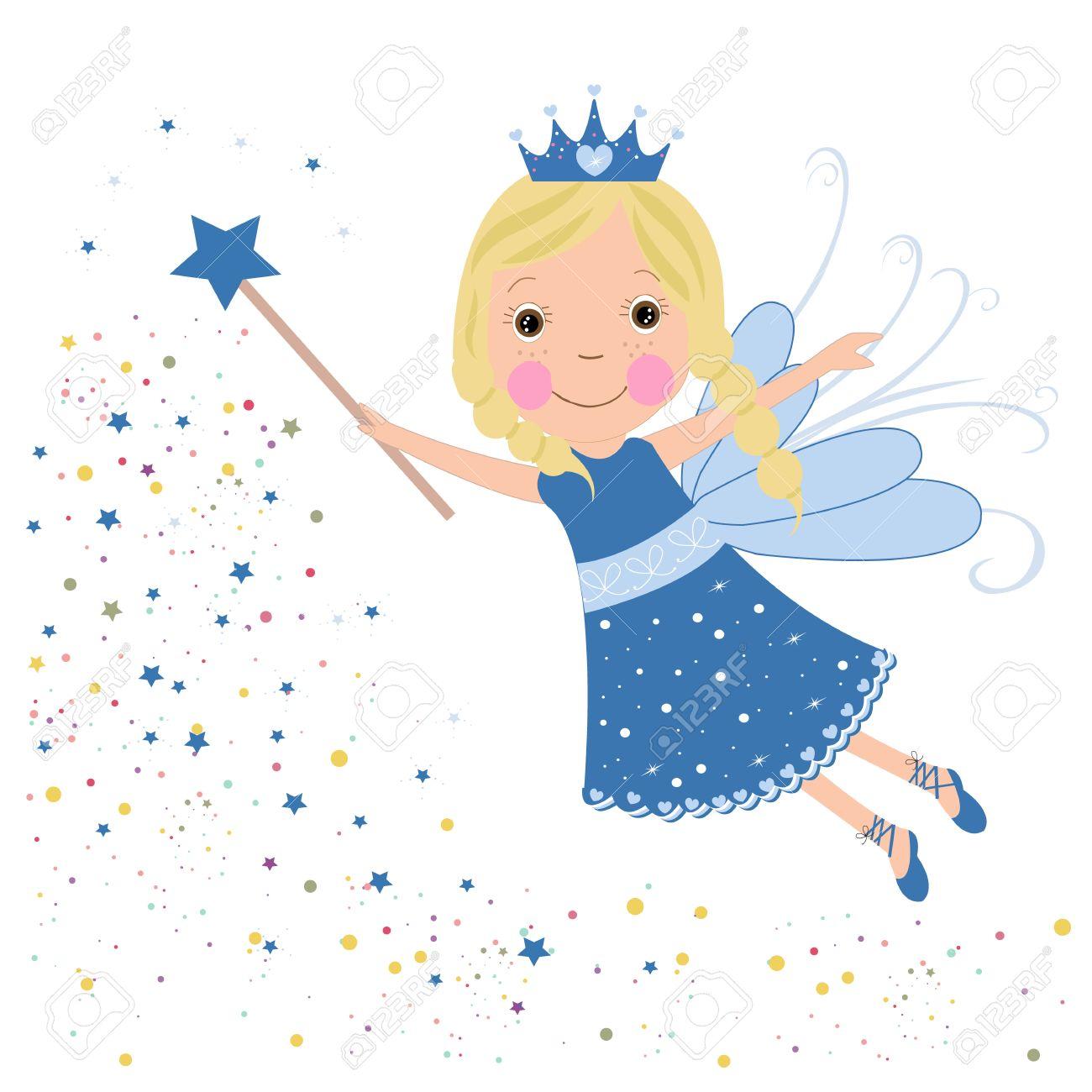 Cute fairytale blue stars shining vector - 34954697