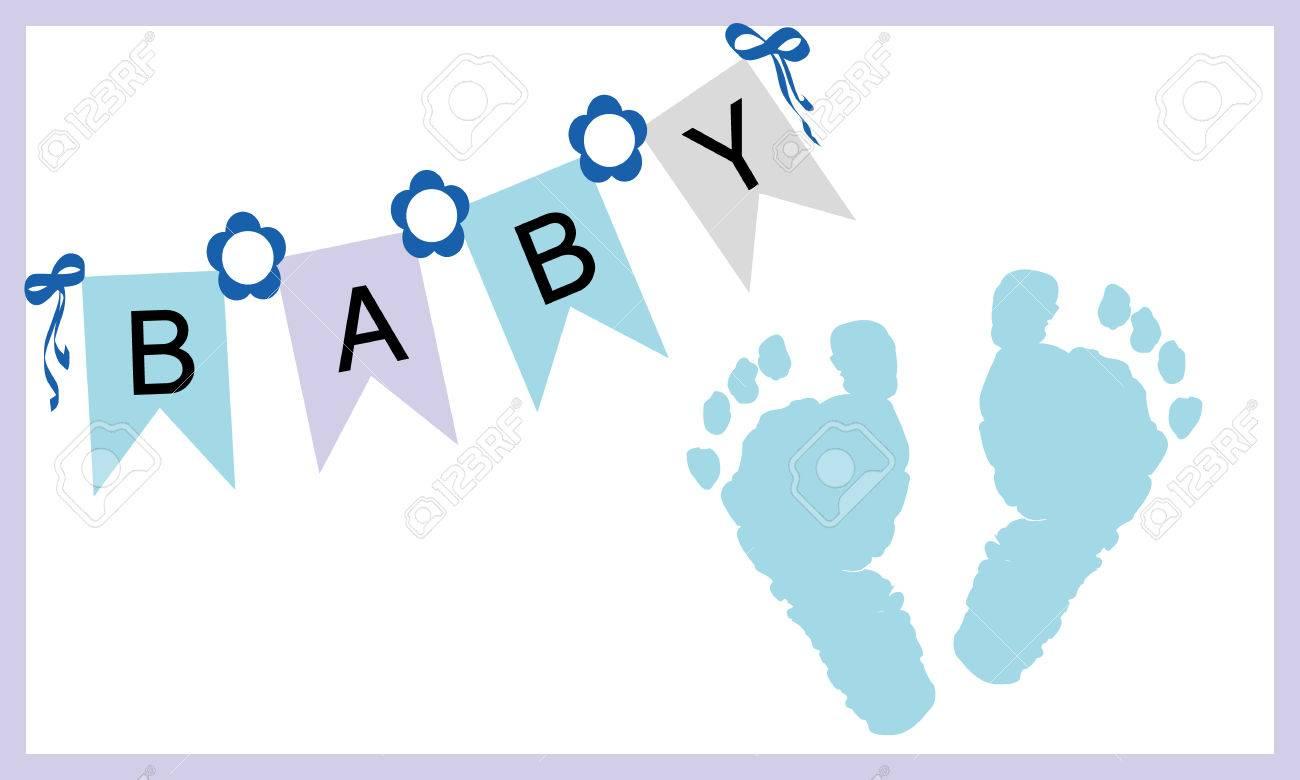 Baby boy feet prints greeting card vector - 36833588