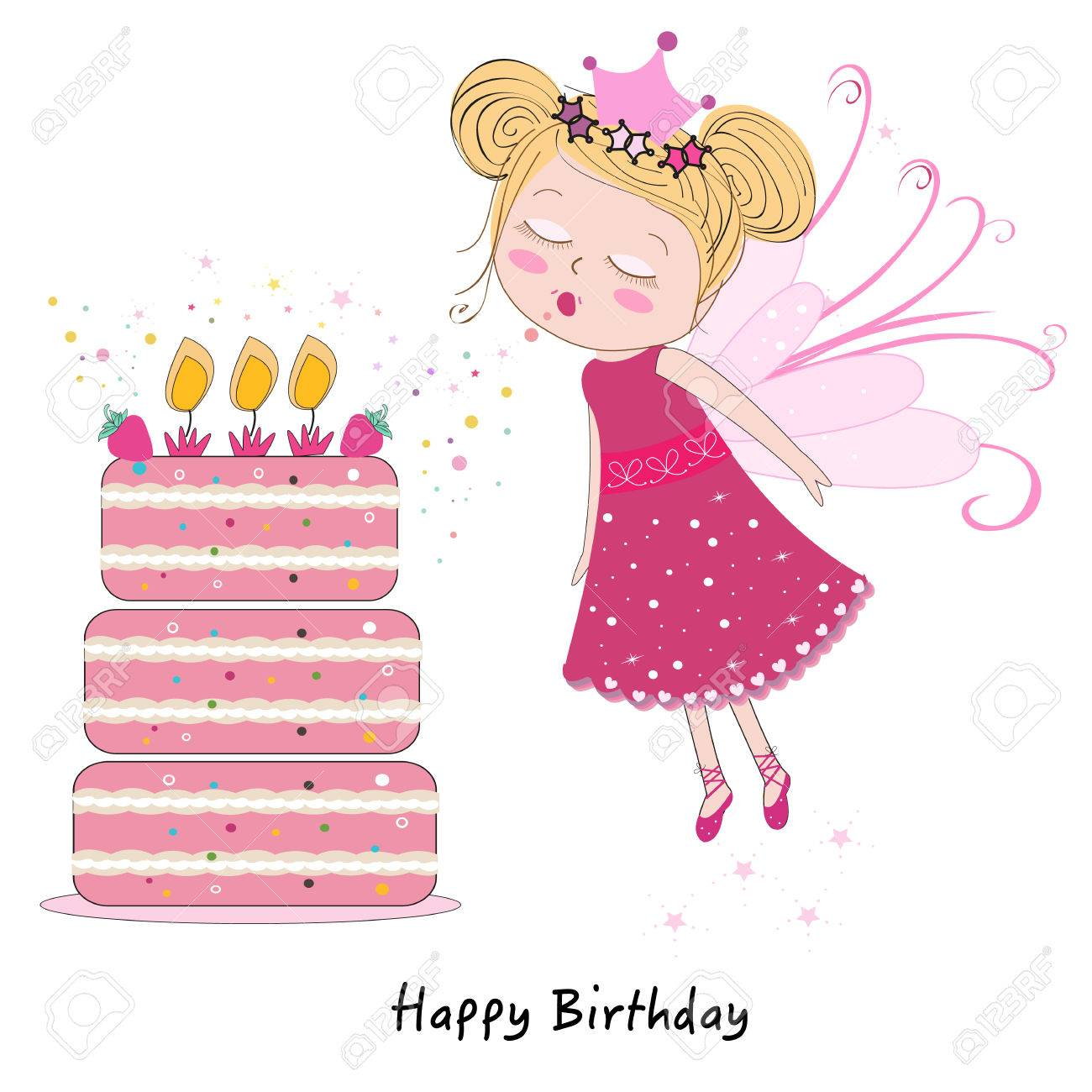 Fairy girl blowing out candles with happy birthday cake - 36833595