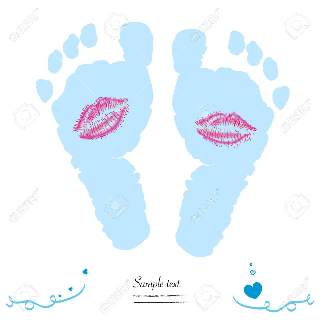 baby boy feet prints with kiss vector baby arrival greeting card