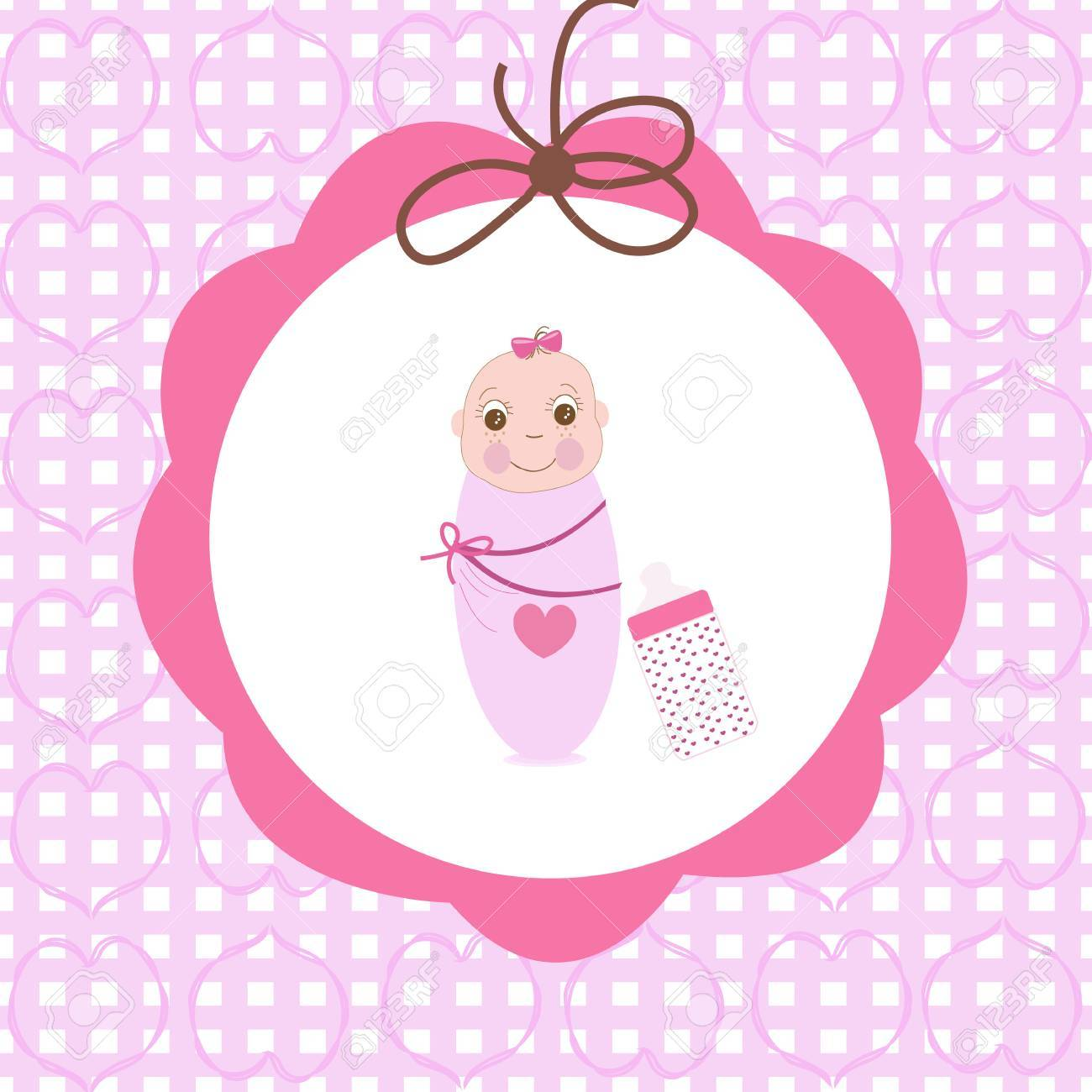 Swaddle baby girl greeting card with bottle royalty free cliparts swaddle baby girl greeting card with bottle stock vector 40314679 kristyandbryce Images