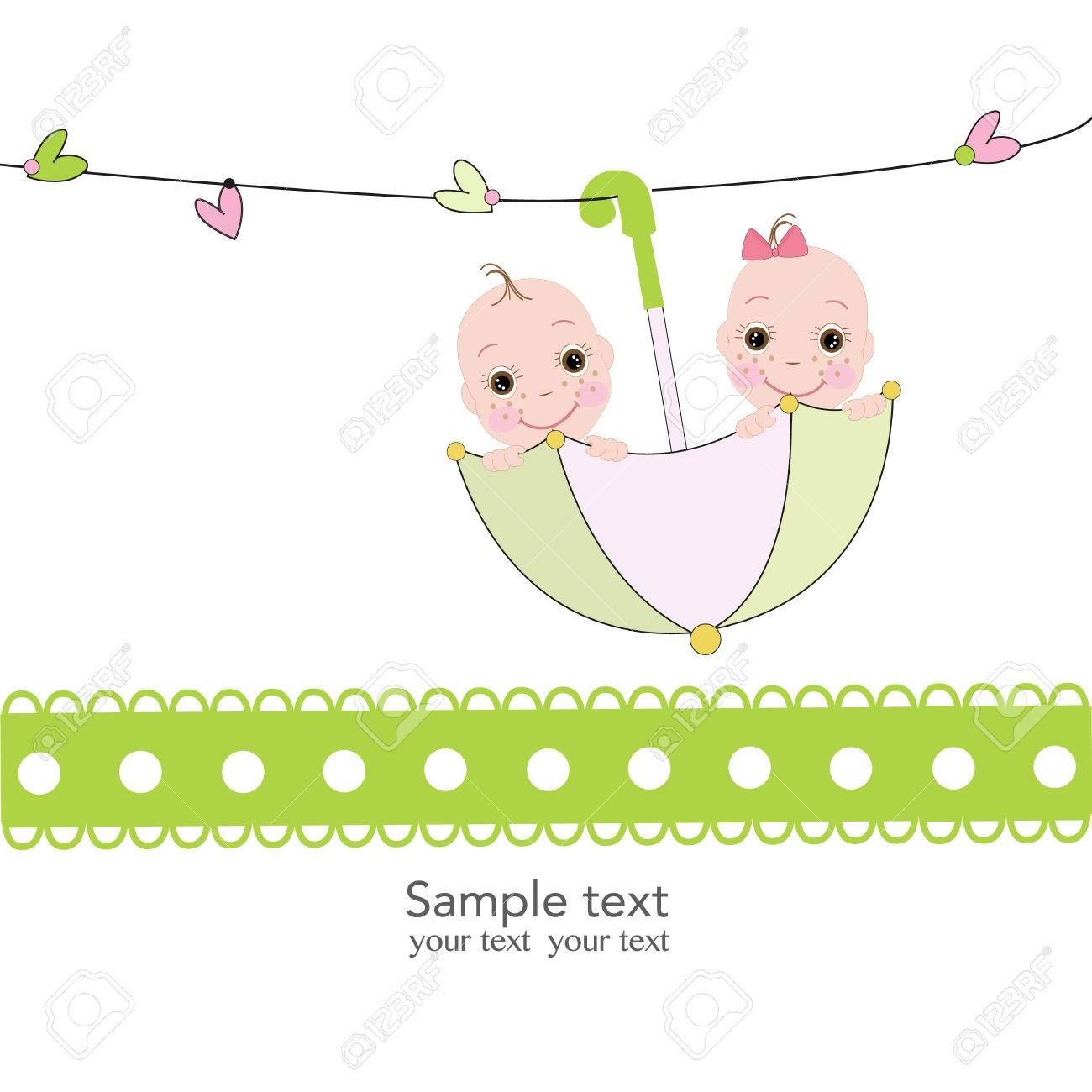 Twin baby boy and girl with umbrella baby shower card Stock Vector -  40314700