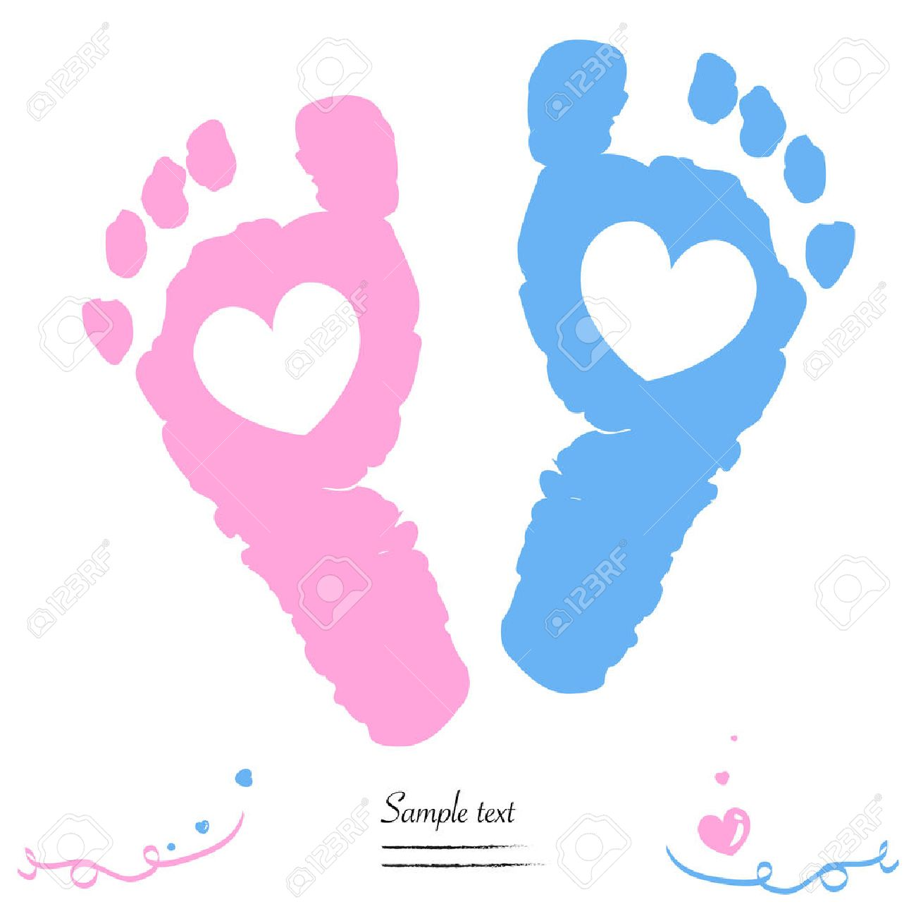 twin baby girl and boy feet prints arrival greeting card vector rh 123rf com Twin Baby Boy Onesies Clip Art Baby Boy and Girl Twins