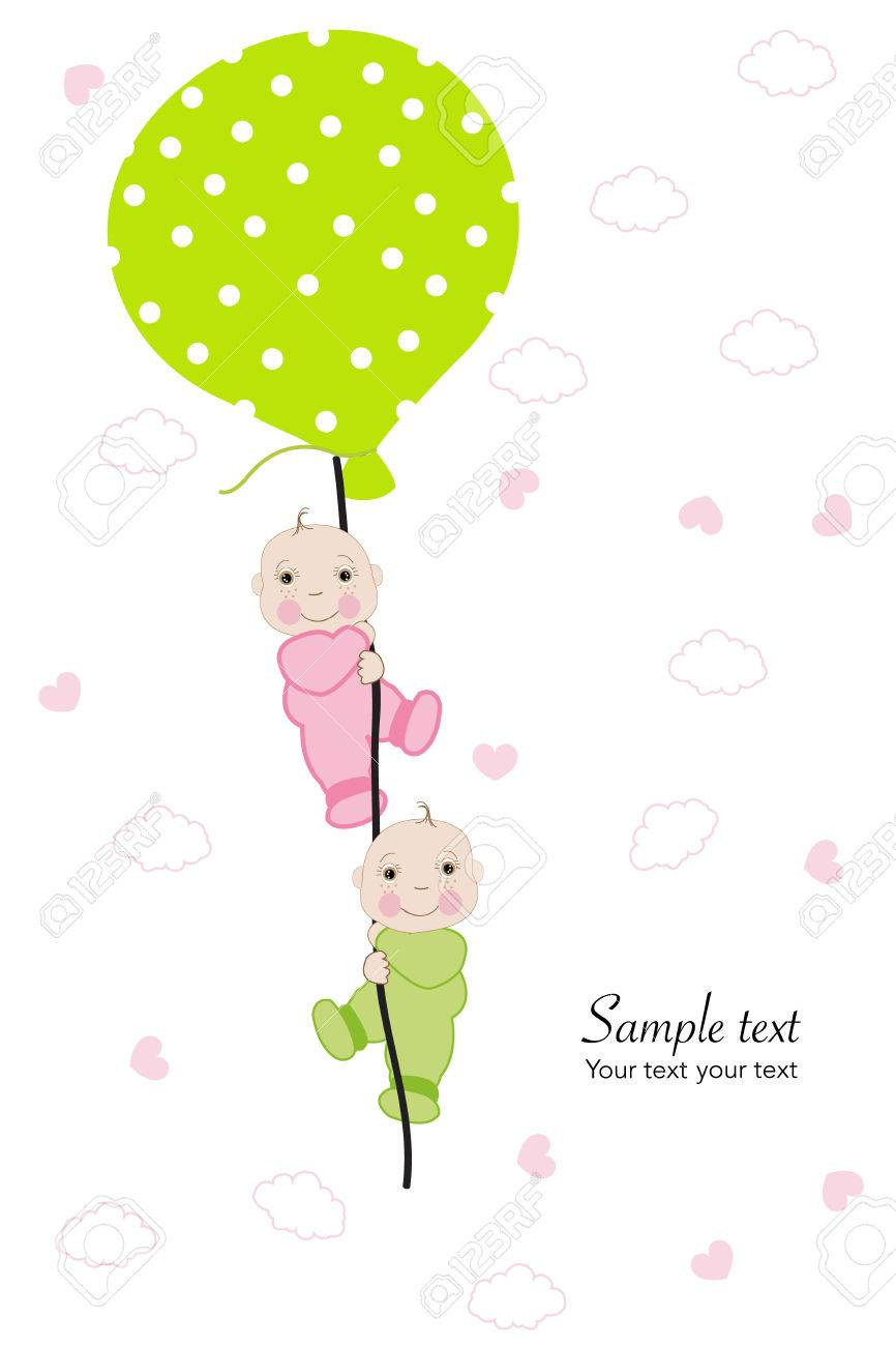 Twin Baby Hold Balloon Baby Shower Greeting Card Royalty Free