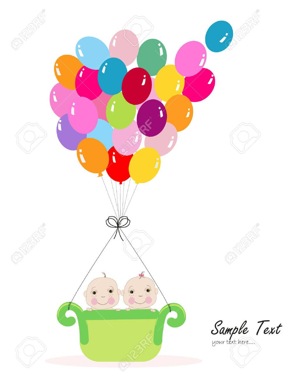 Twin Baby With Colorful Balloon Baby Shower Greeting Card Royalty