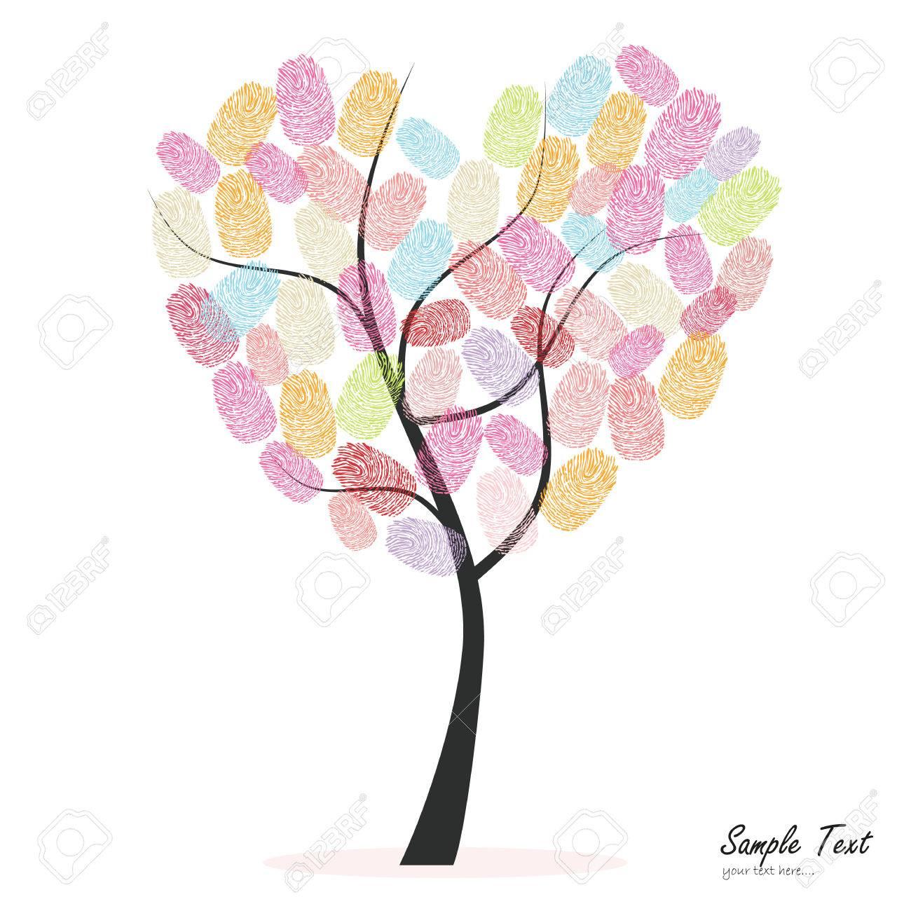 Herz Baum Mit Bunten Fingerabdrucken Lizenzfrei Nutzbare