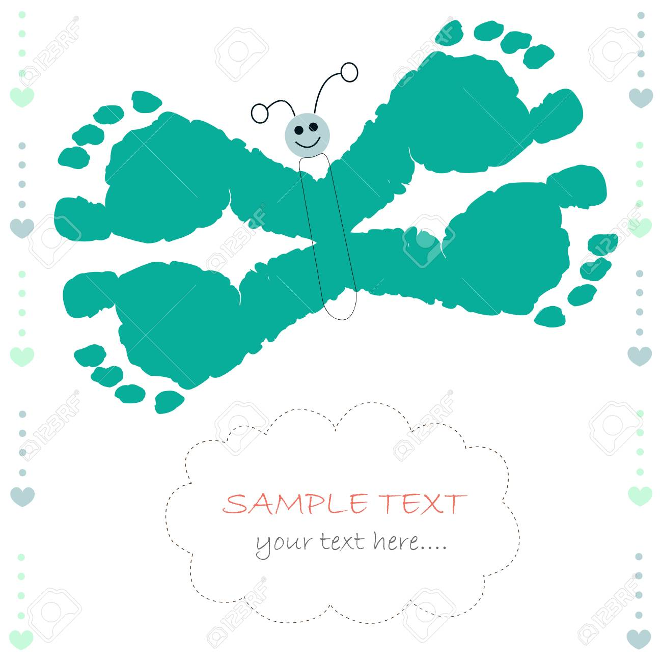 Butterfly With Baby Prints Baby Boy Greeting Card Royalty Free