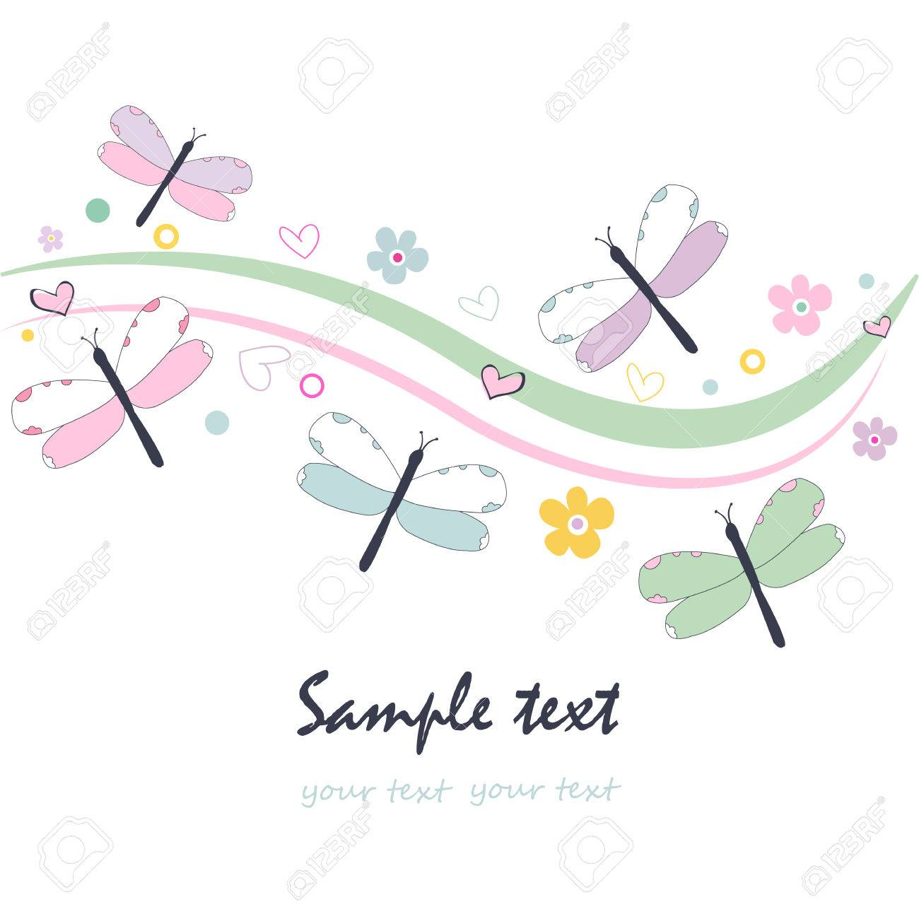Colorful floral greeting card with dragonfly vector - 40260665