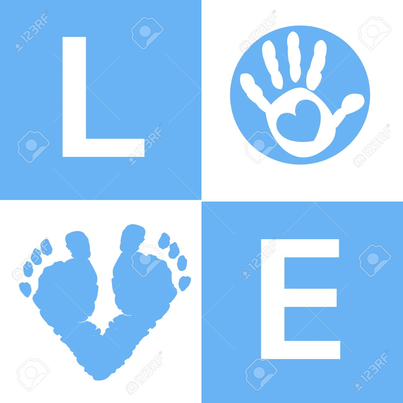 baby hand and foot prints baby boy arrival card royalty free