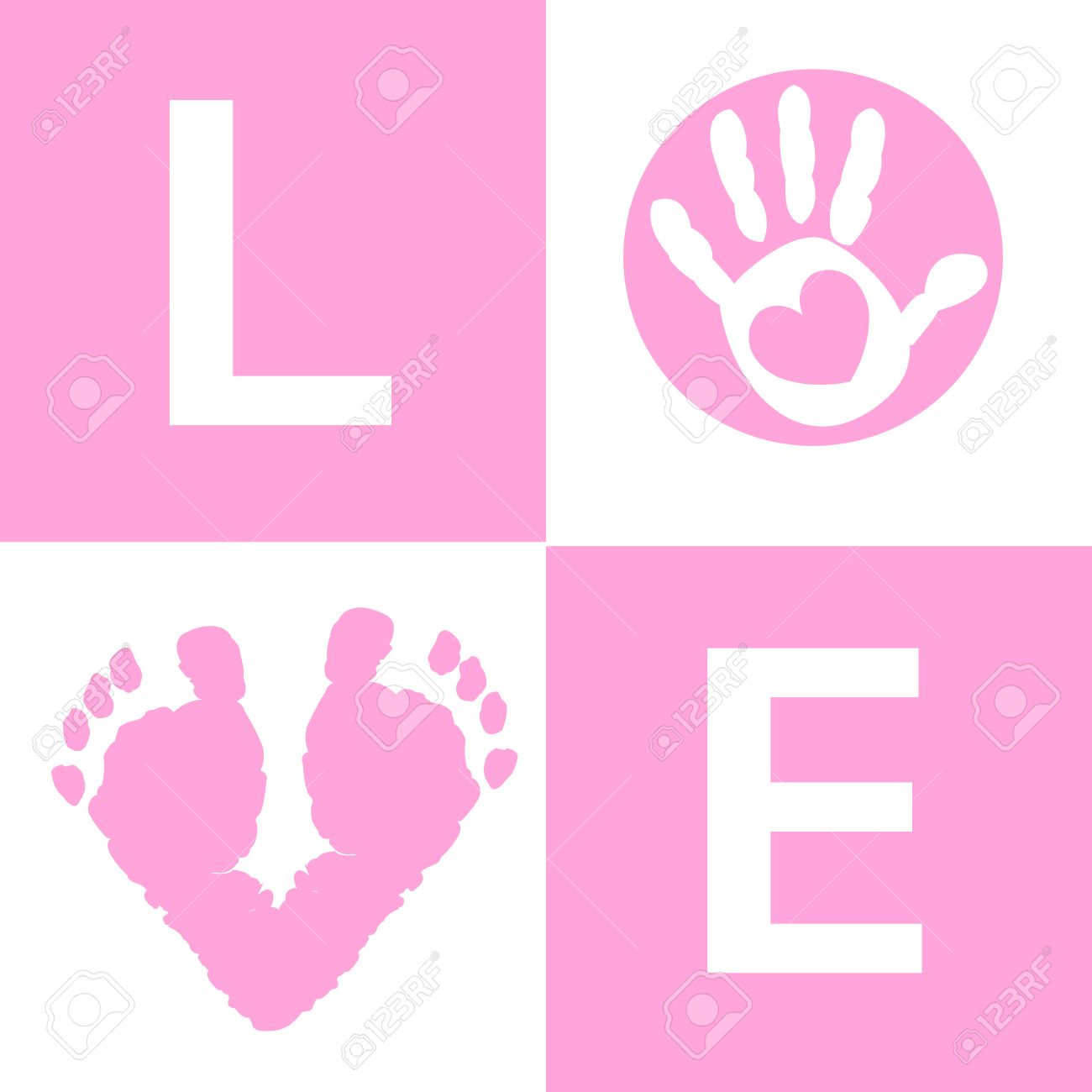 baby girl baby hand and foot prints card on arrival royalty free