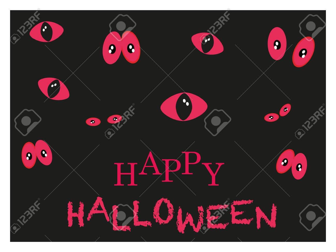 Spooky Red Eyes Glowing In The Dark Happy Halloween Card Stock Vector    42706846