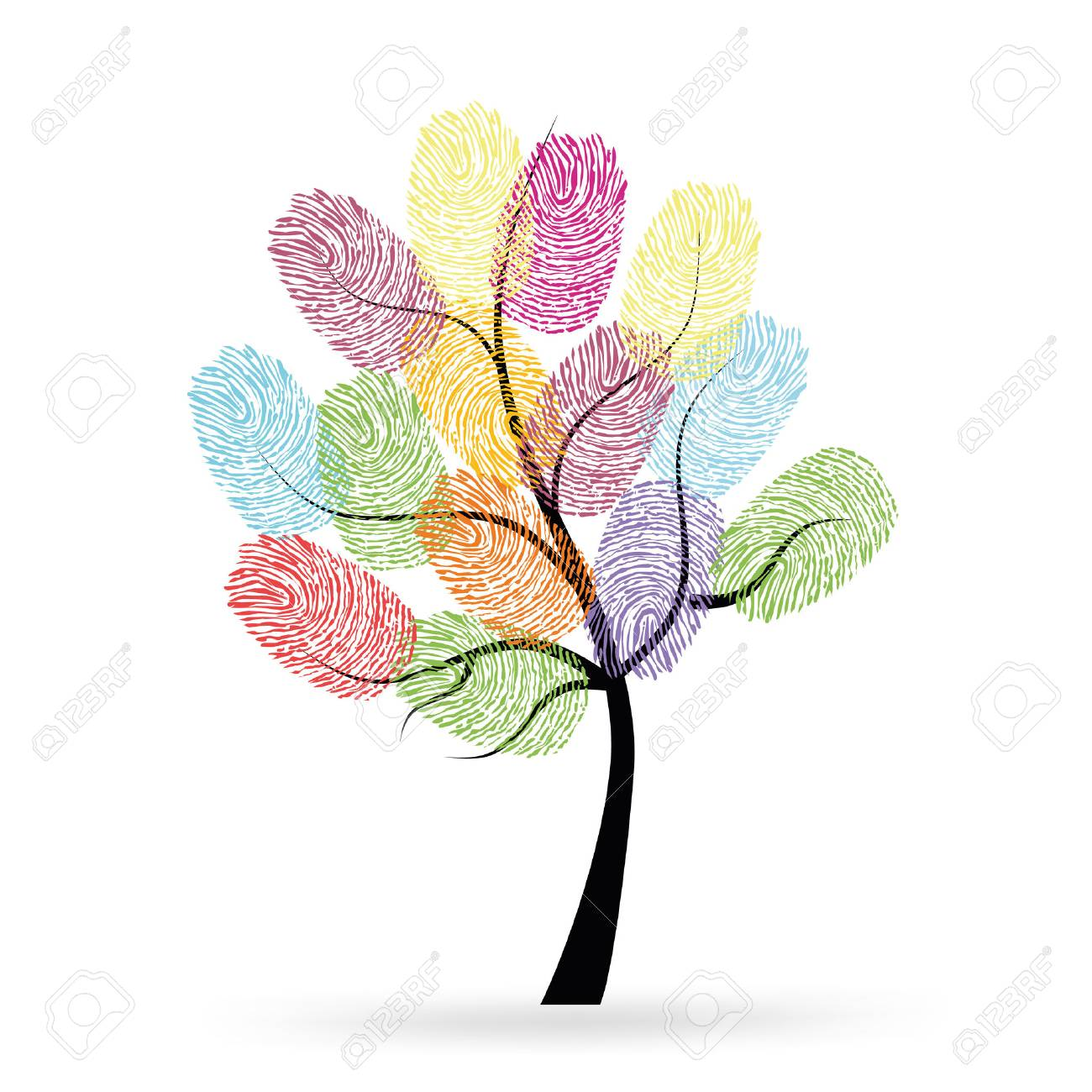 Tree with colorful finger prints - 42707577