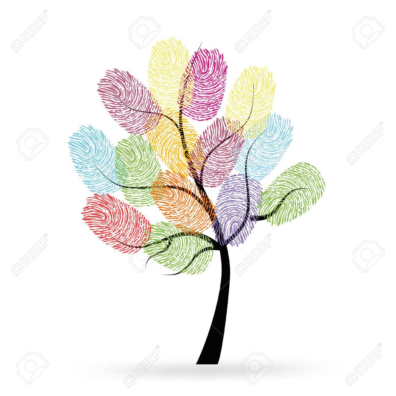 Baum Mit Bunten Fingerabdrucken Lizenzfrei Nutzbare Vektorgrafiken