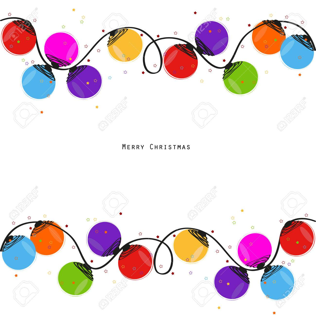 Colorful Christmas light bulb happy new year greeting card vector - 46578115