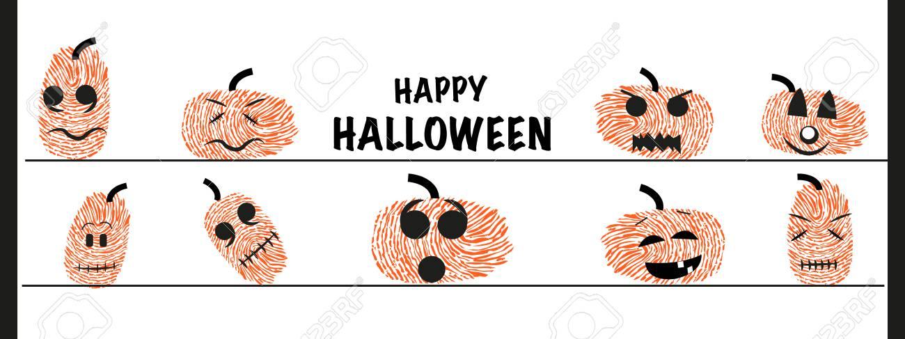 Lustiger Halloween Kurbis Mit Fingerabdrucken Lizenzfrei Nutzbare