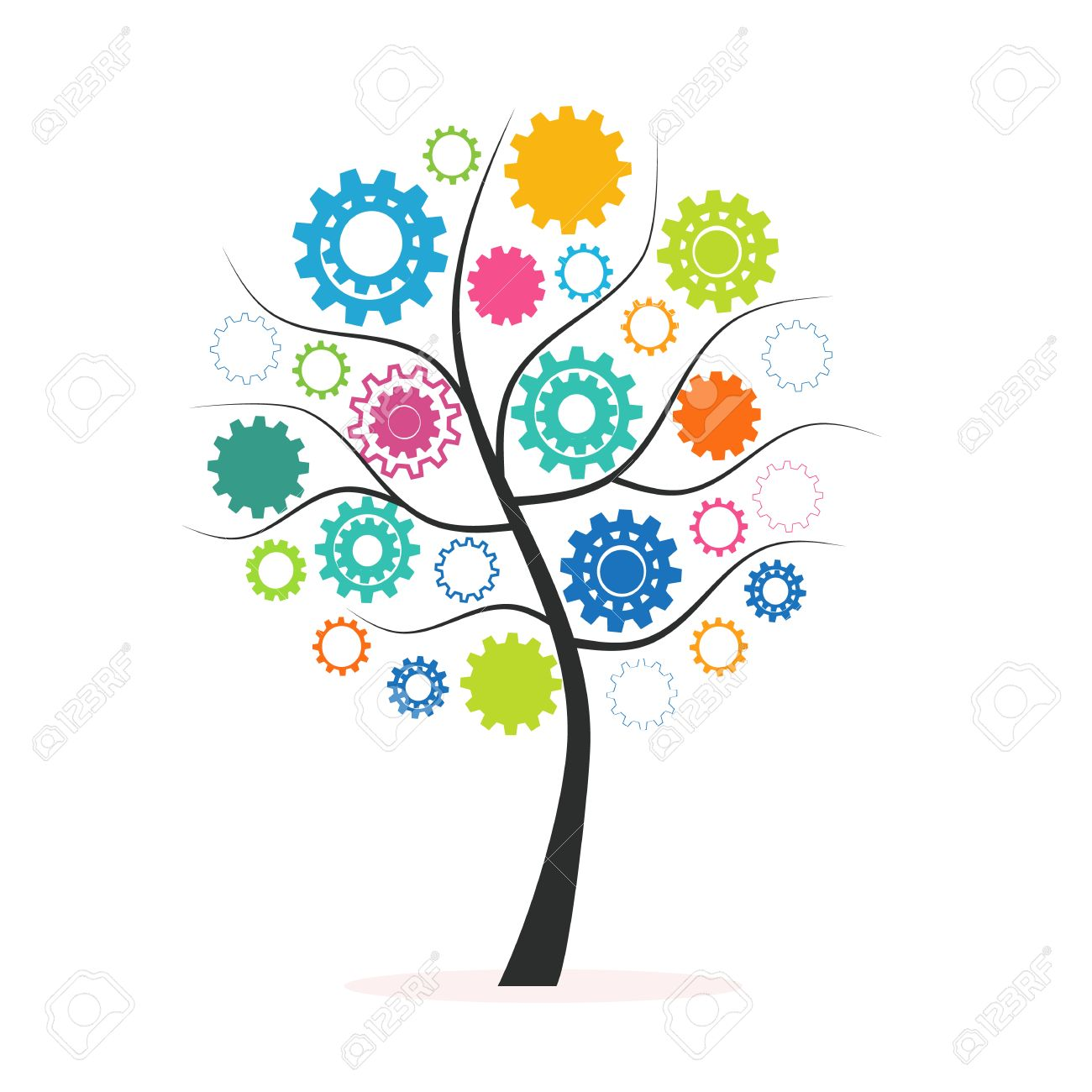 Industrial innovation concept tree made from colorful cogs and gears vector - 46578975
