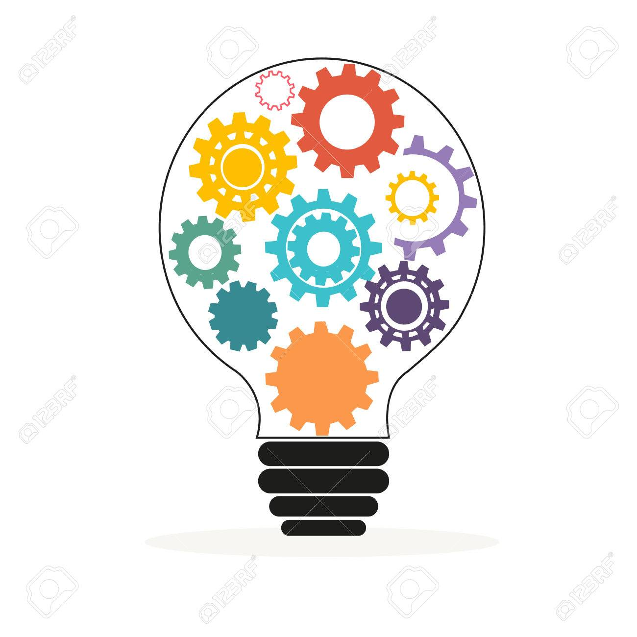 Light bulb with colorful gears and cogs vector - 46579043