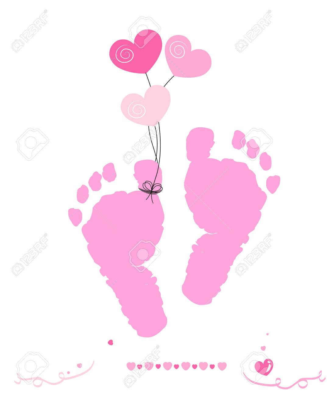 baby girl greeting card vector foot prints with hearts balloon