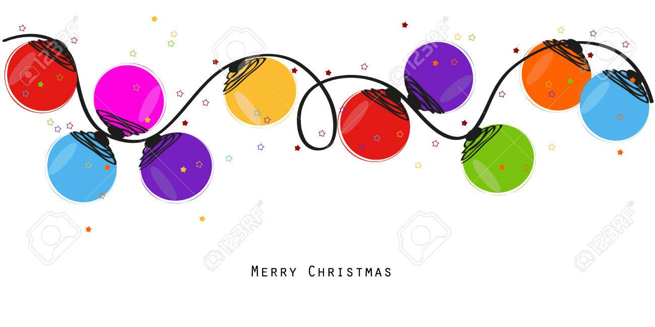 Colorful Christmas light bulb happy new year greeting card vector - 47878391