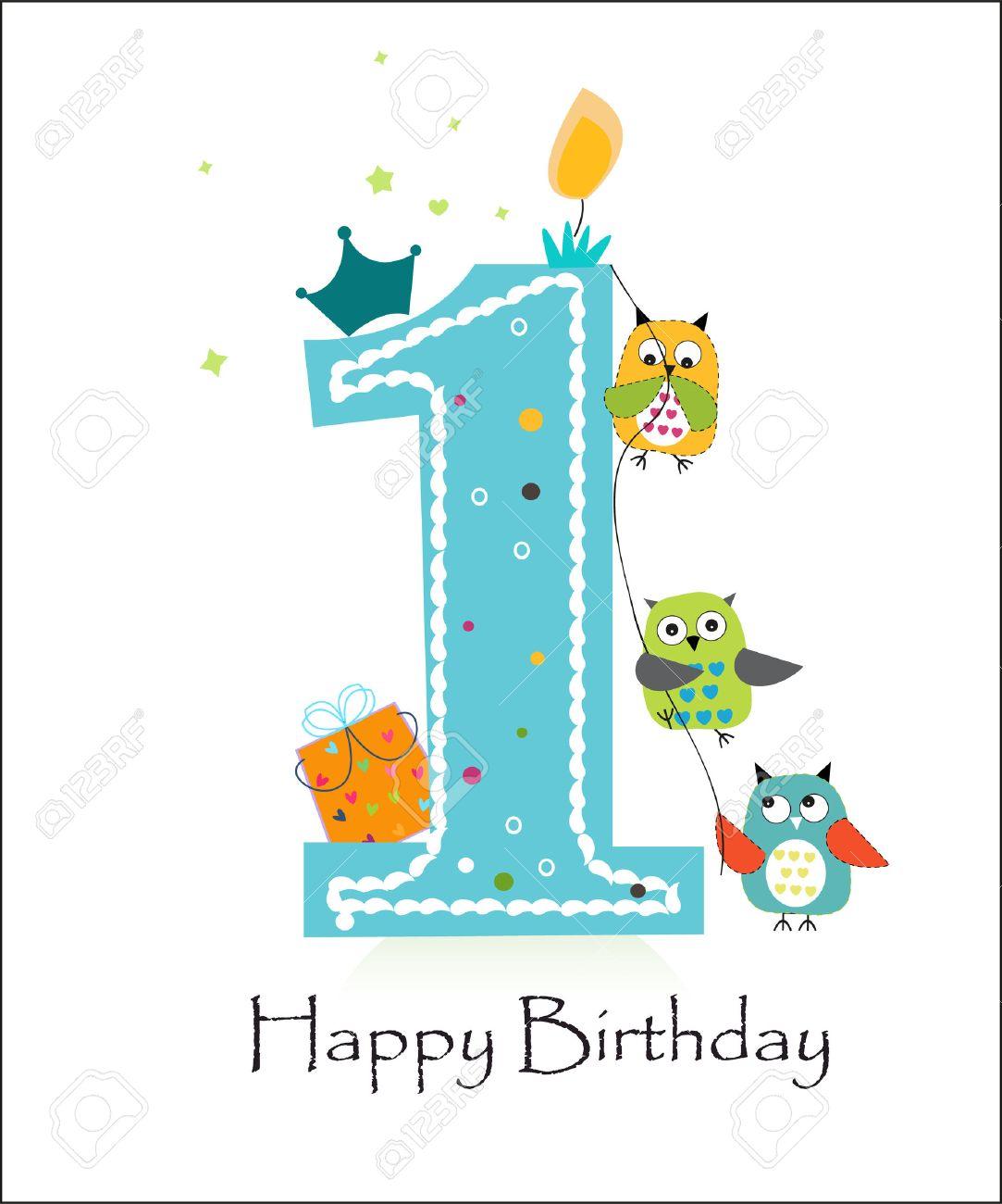 Einladung Geburtstag: Glückliche Ersten Geburtstag Mit Eulen Baby Boy  Grußkarte Vektor  Illustration