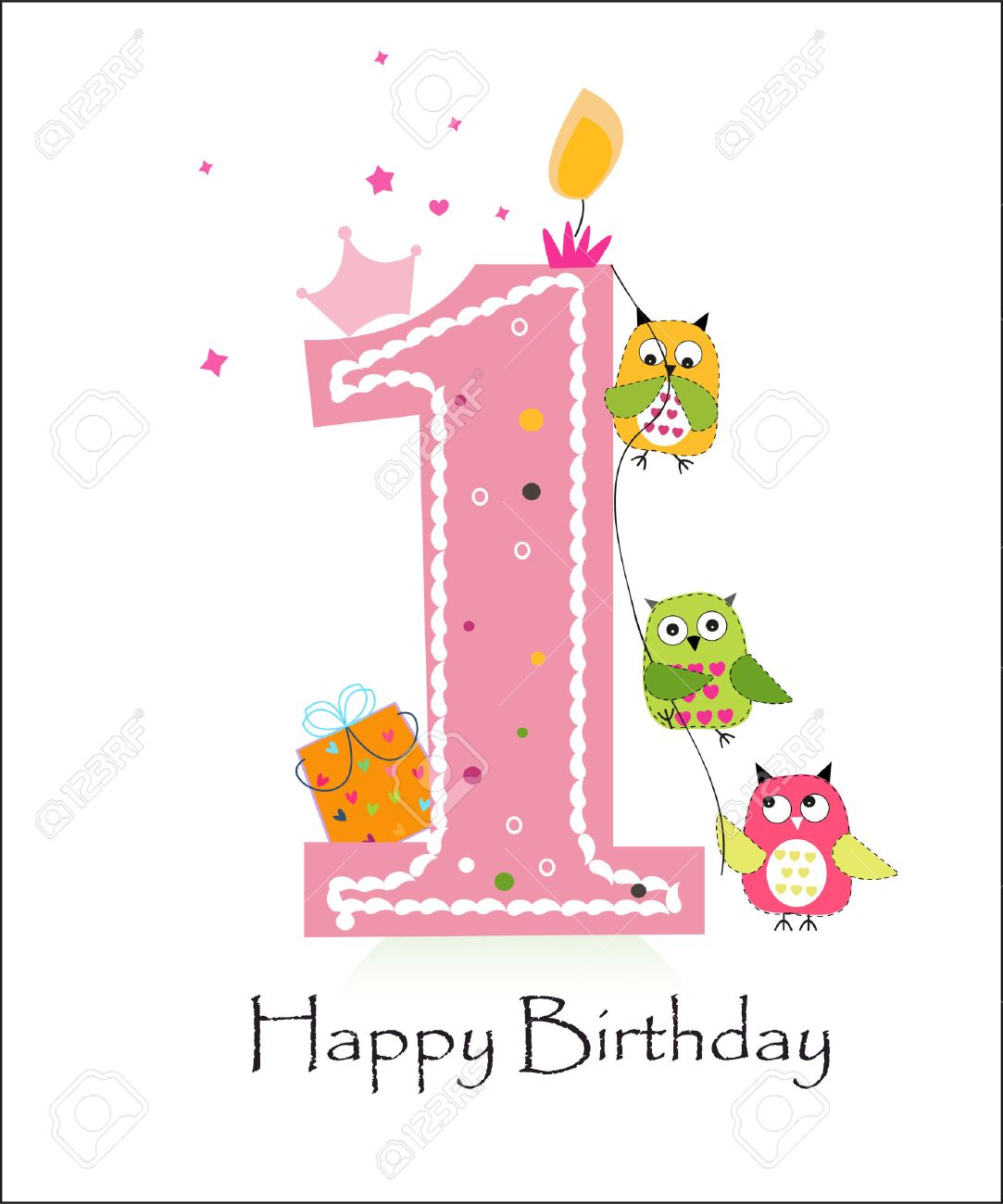 Happy first birthday with owls baby girl greeting card vector - 47878760