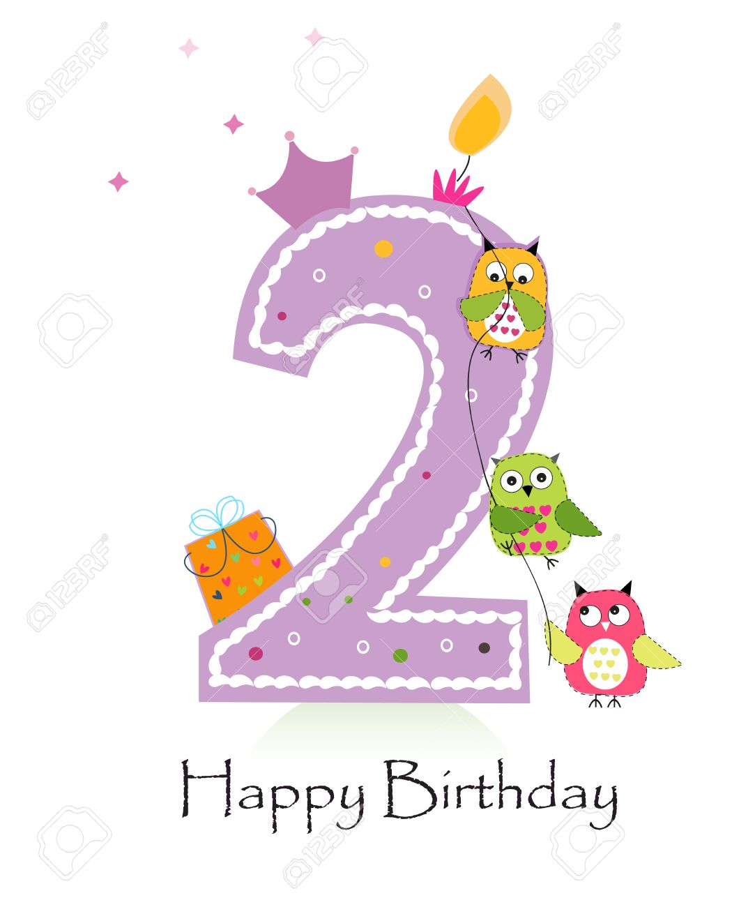Happy Second Birthday Candle Greeting Card With Owls Baby Girl Stock Vector
