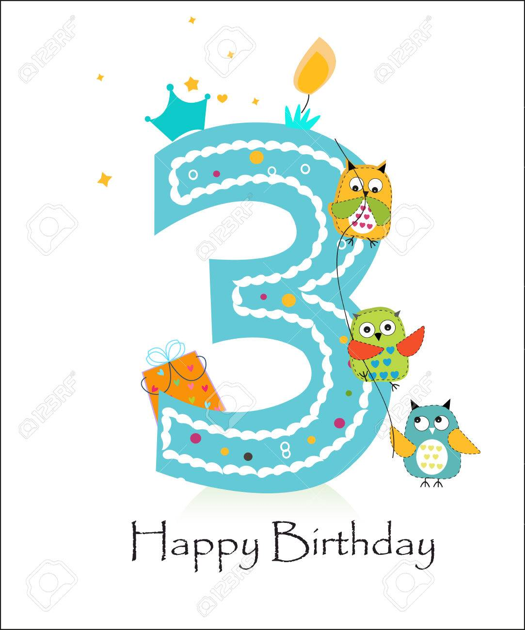 Happy Third Birthday Baby Boy Greeting Card With Owls Vector
