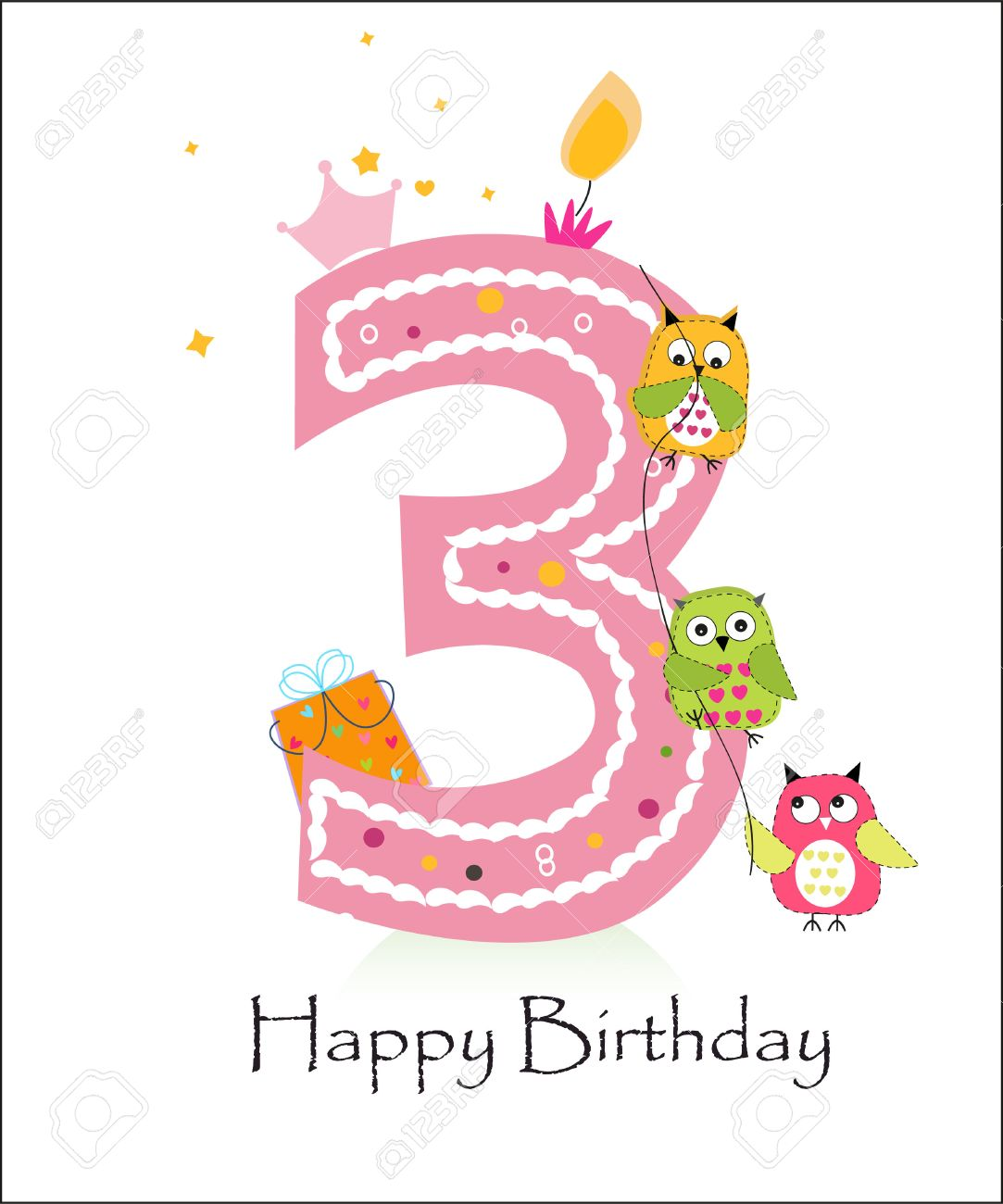 Happy third birthday, baby girl greeting card with owls vector - 47878763