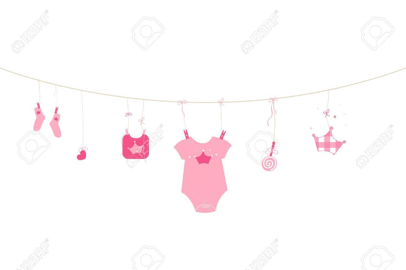 Newborn baby girl baby arrival greeting card symbols vector royalty newborn baby girl baby arrival greeting card symbols vector stock vector 47878772 m4hsunfo