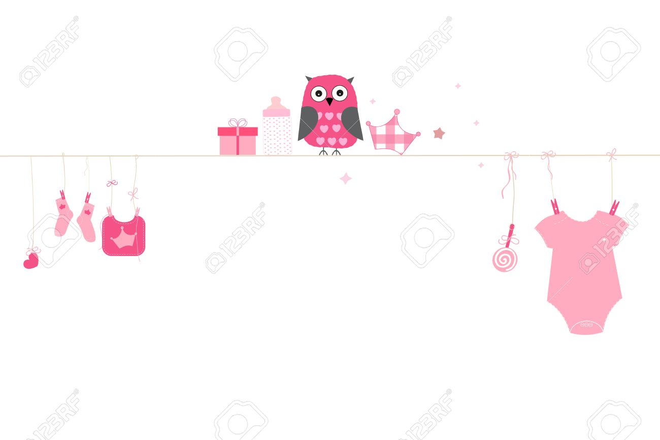 Newborn baby girl owl with symbols baby arrival greeting card newborn baby girl owl with symbols baby arrival greeting card vector stock vector 47878776 m4hsunfo