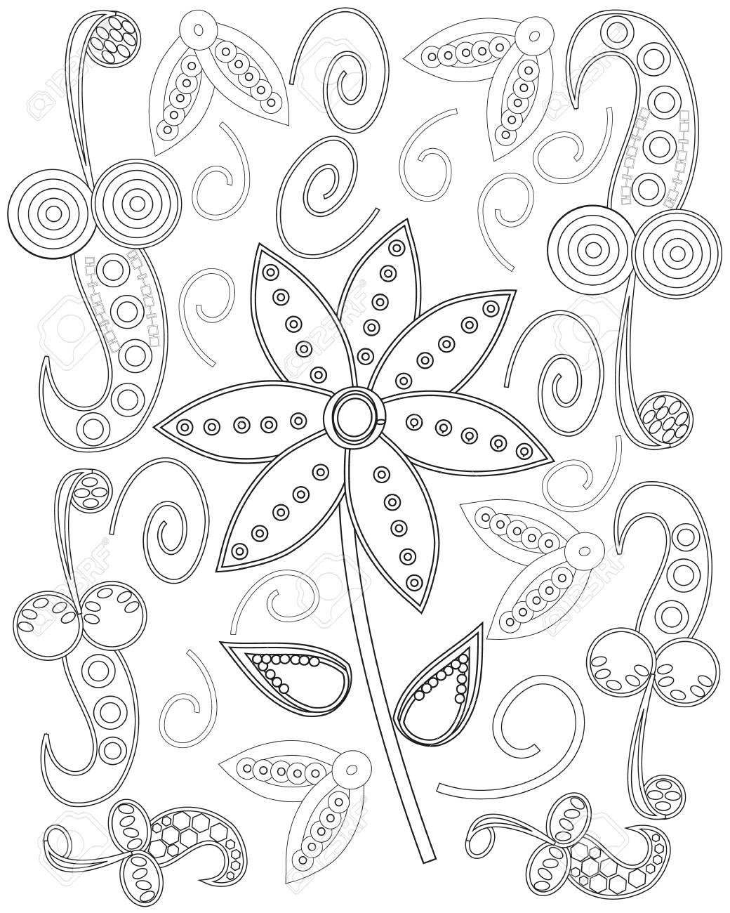 Diseño De Página Para Colorear De Flores Ornamentales Dibujadas A ...