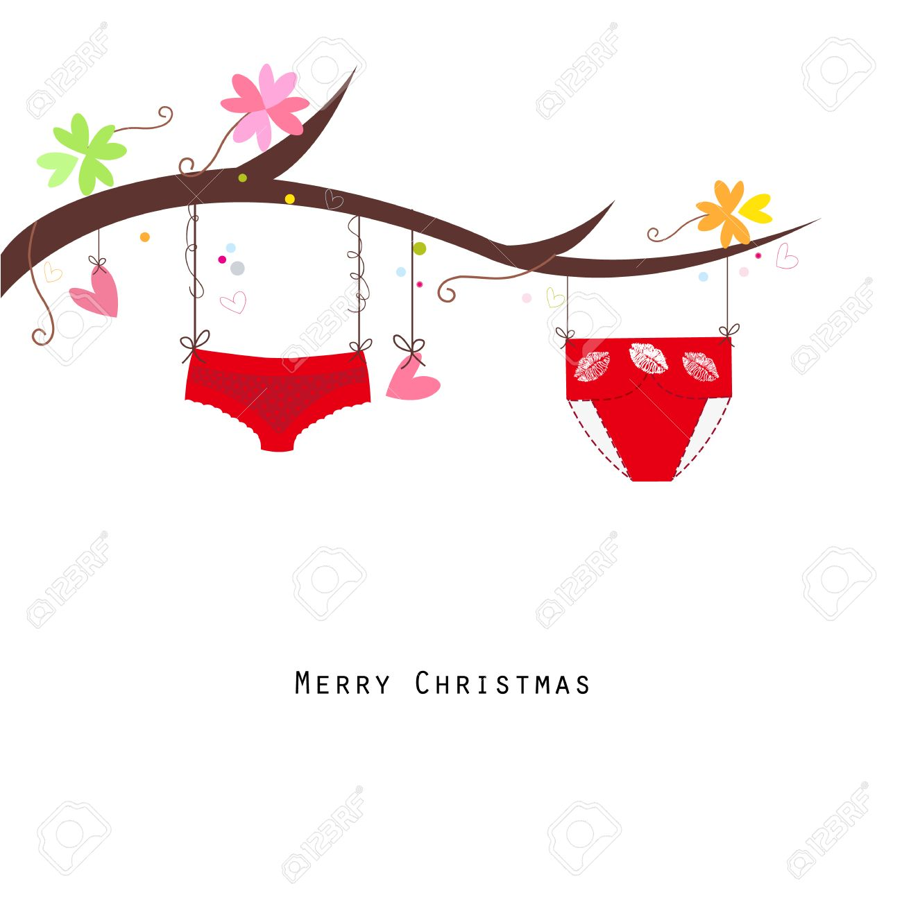 Panties hanging merry christmas happy new year greeting card panties hanging merry christmas happy new year greeting card vector stock vector 49611055 m4hsunfo
