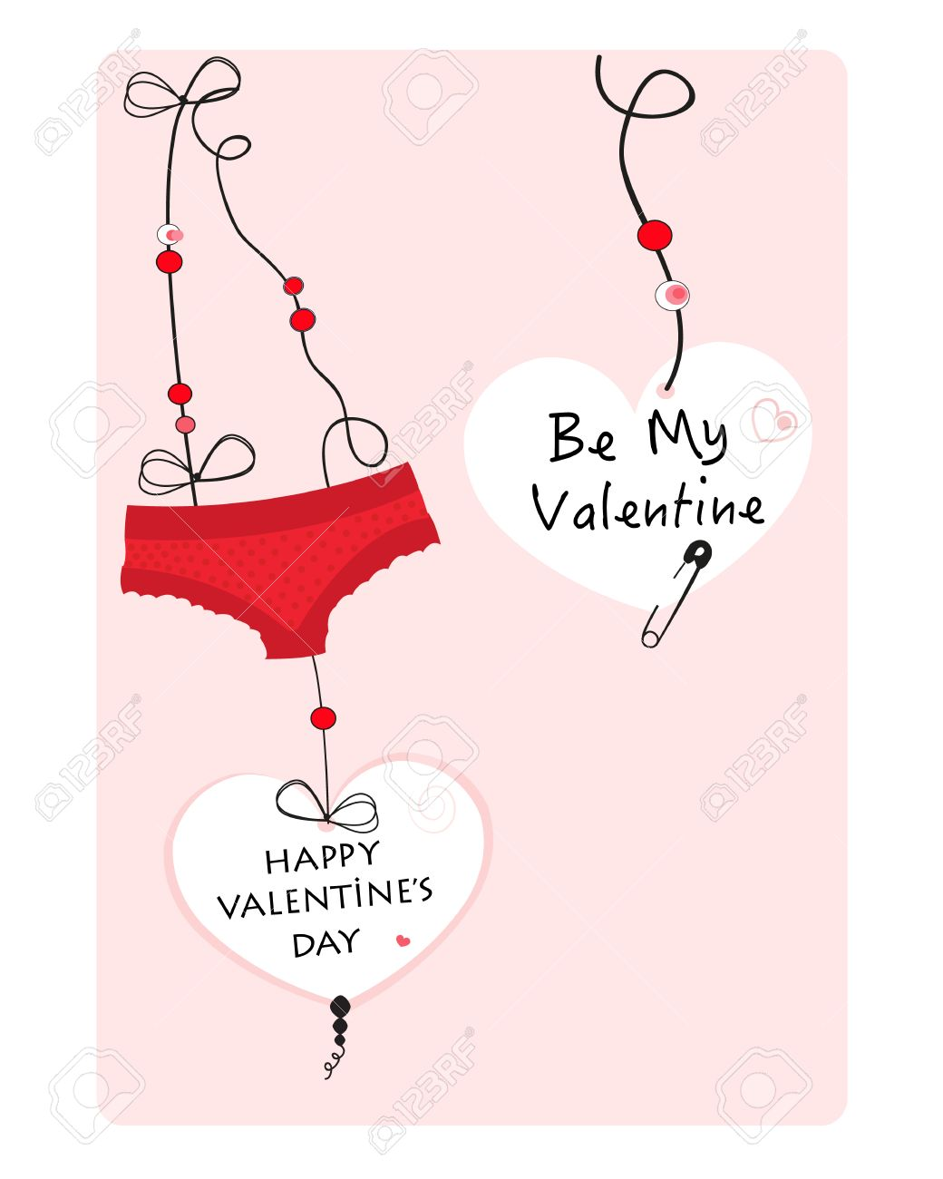 Hanging Hearts And Underwear Panties Valentine Day Greeting Card