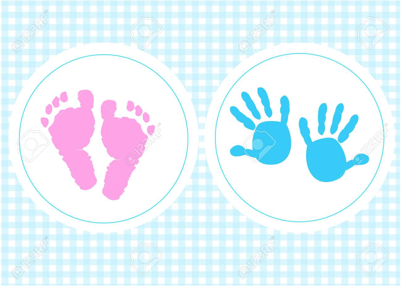 Baby foot prints baby shower greeting card with heart - 50327176