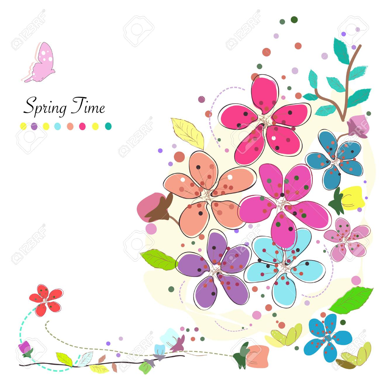 Spring Time Flowers Background Vector Colorful Abstract Doodle