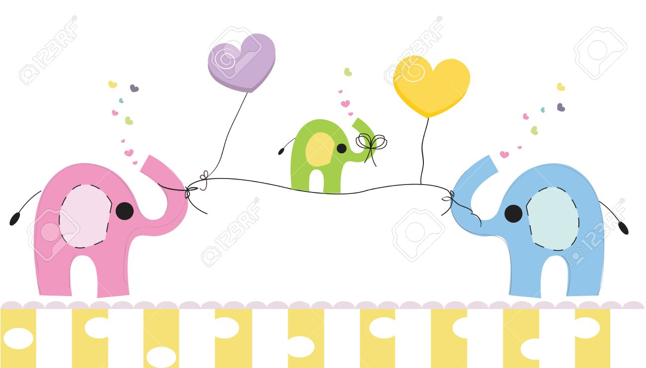 Cute Elephants And Baby Elephant. Baby Shower Greeting Card. Newborn Baby  Vector Background Stock