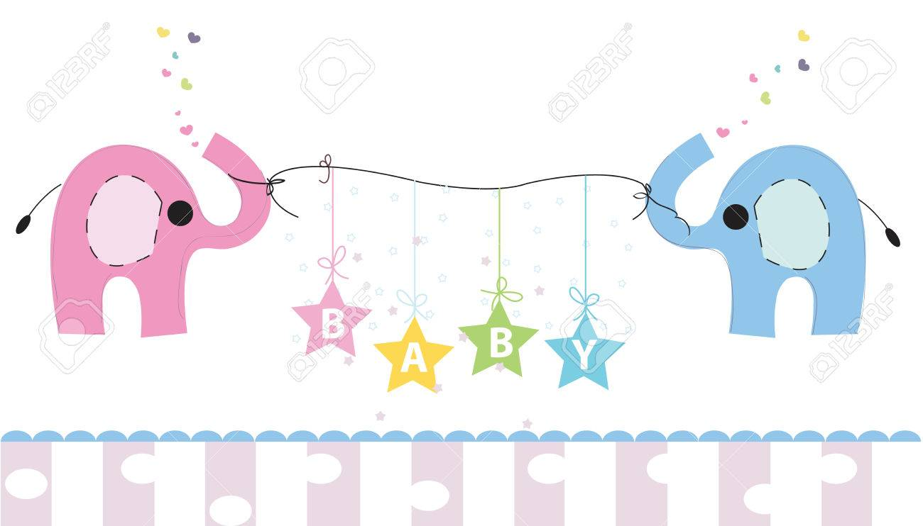 cute elephants and baby elephant baby shower greeting card newborn baby vector background stock