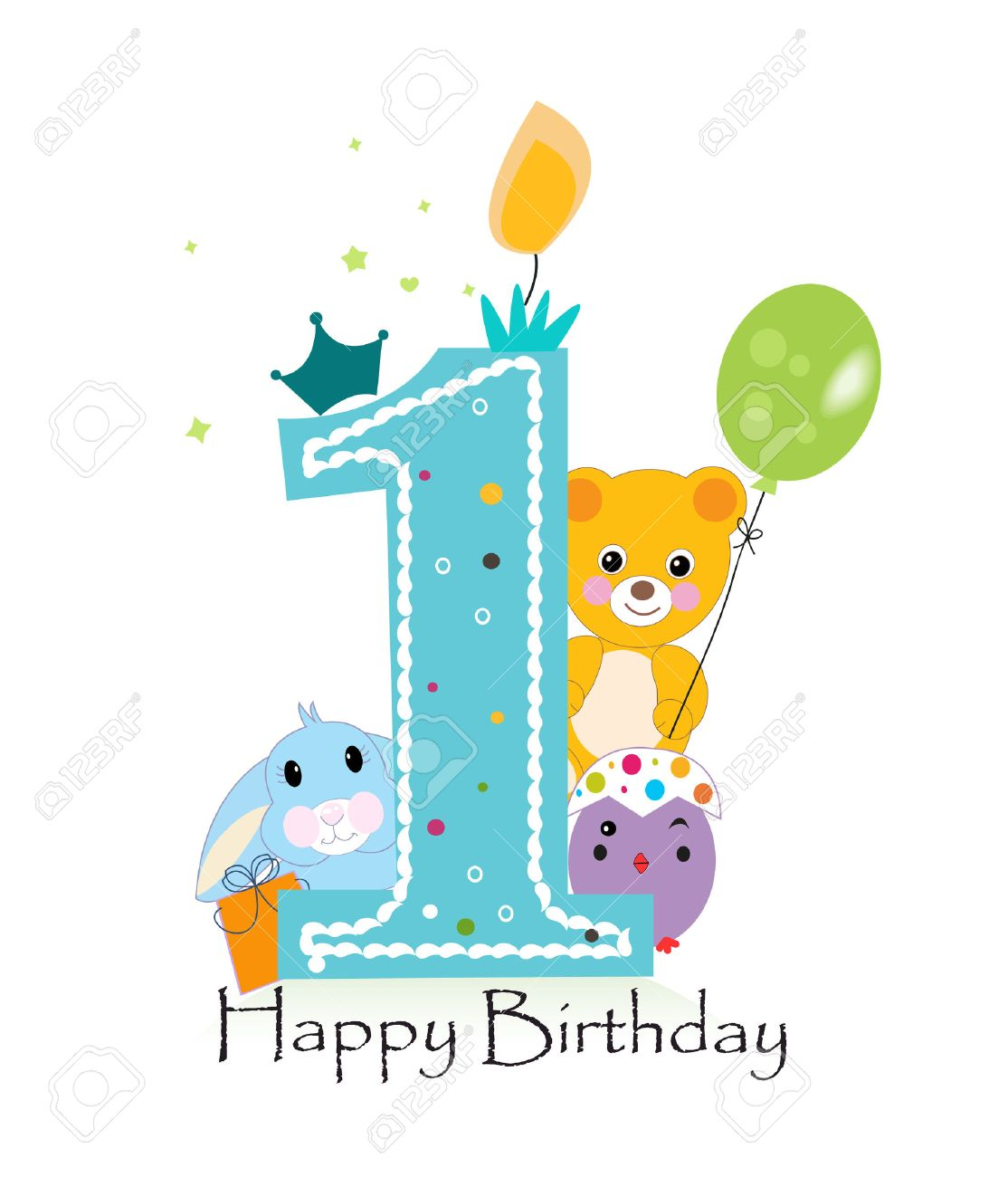 Happy first birthday candle. Baby boy greeting card with bunny, chick and teddy bear vector - 55679460