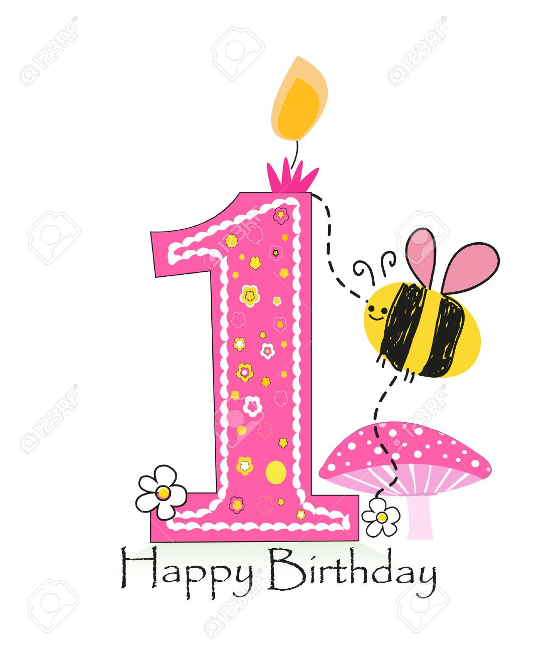 Happy First Birthday Candle Baby Girl Greeting Card With Bee – Happy 1st Birthday Card